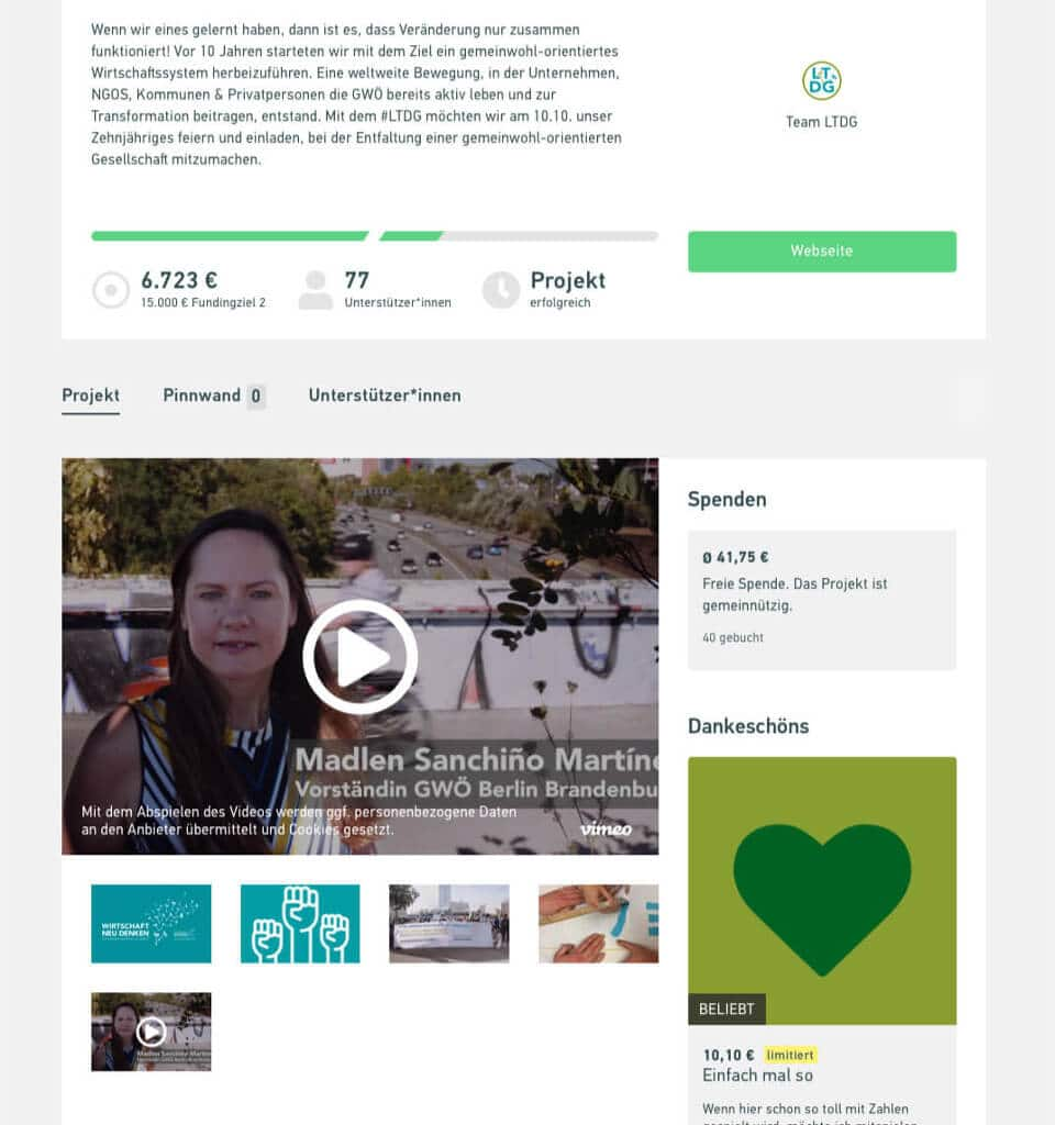 Screenshot der Crowdfunding-Website